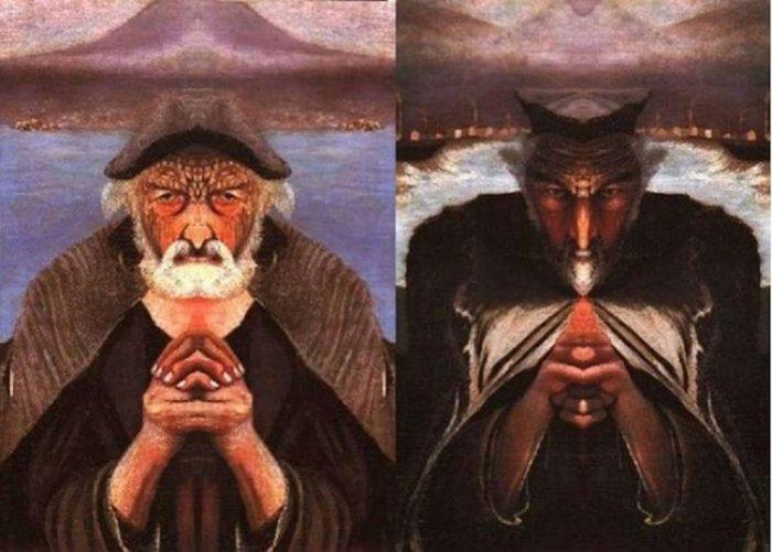 Тивадар Костка Чонтвари «Старый рыбак» Изображение через зеркало