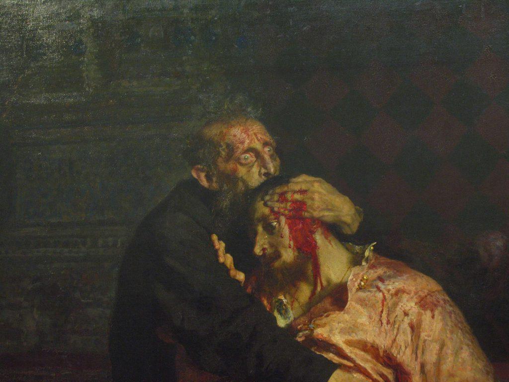 Илья Репин «Иван Грозный и сын его Иван 16 ноября 1581 года». Эпизод