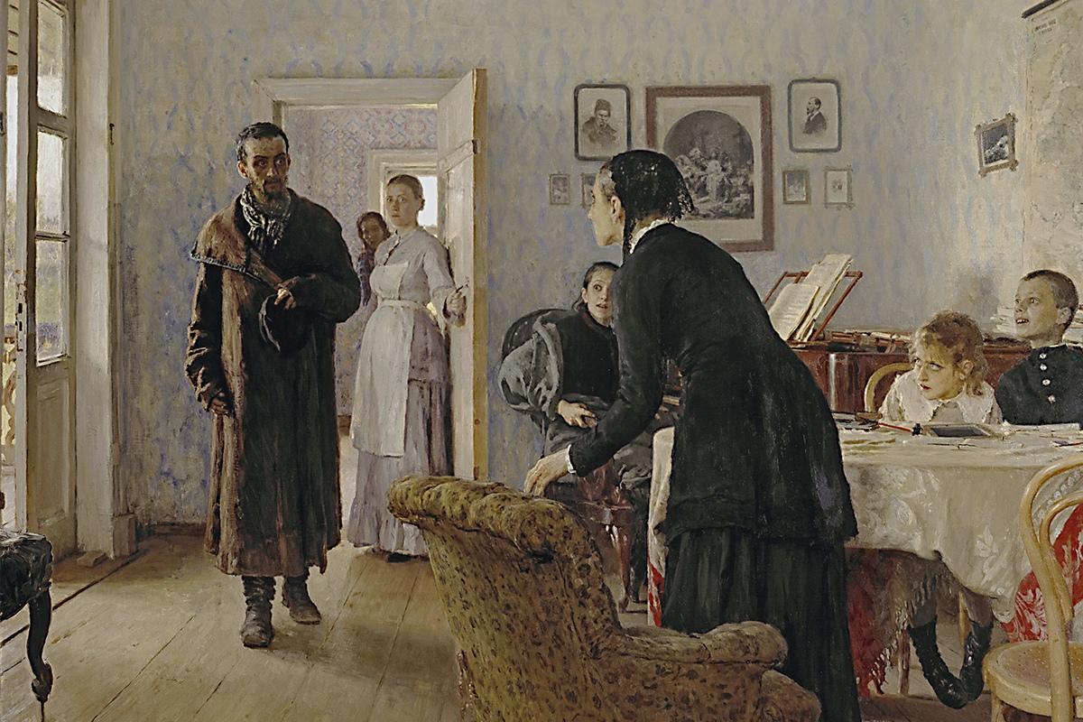Илья Репин «Не ждали», фрагмент