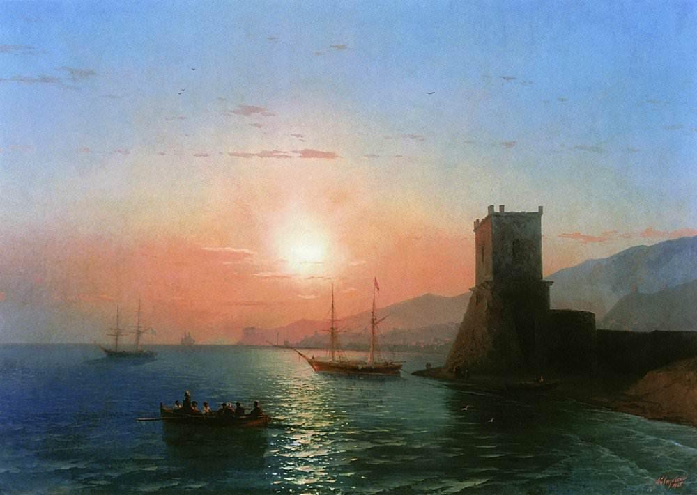 «Феодосия. Закат солнца» И. К. Айвазовский, 1865 год
