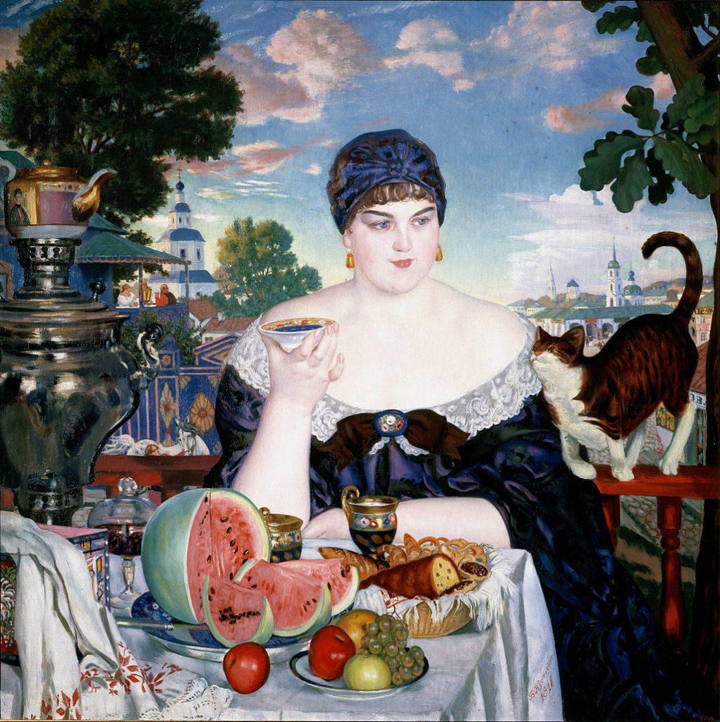 Борис Кустодиев «Купчиха за чаем» 1918 год