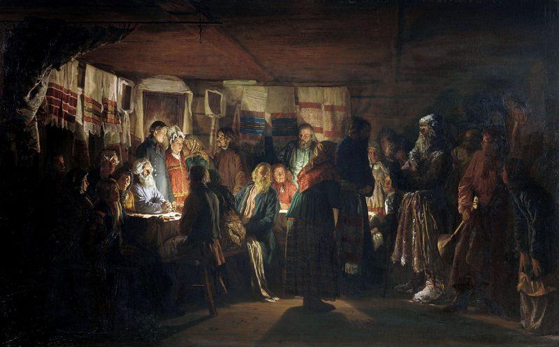Максимов В.М. «Приход колдуна на крестьянскую свадьбу», 1875 год