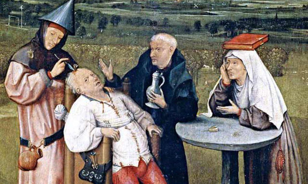 Иероним Босх «Извлечение камня глупости», фрагмент