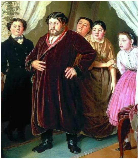 Василий Перов «Приезд гувернантки в купеческий дом», фрагмент