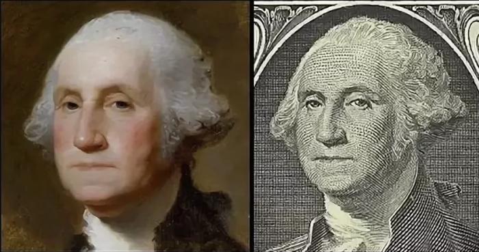 Сравнение портрета и изображения с долларовой купюры (перевёрнуто для удобства). Фото: wikipedia.org