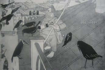 """Карикатура Павла Щербова на Архипа Куинджи под названием """"Пернатые пациенты"""""""
