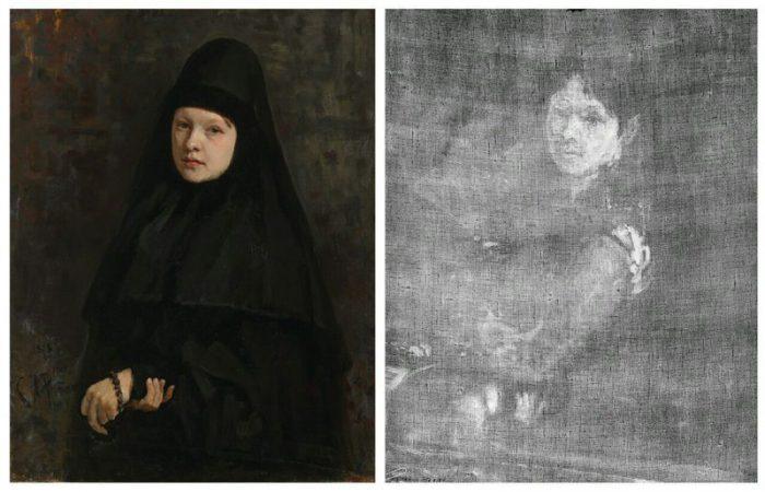 И.Е. Репин. Картина «Монахиня» 1878 года и её рентгенограмма