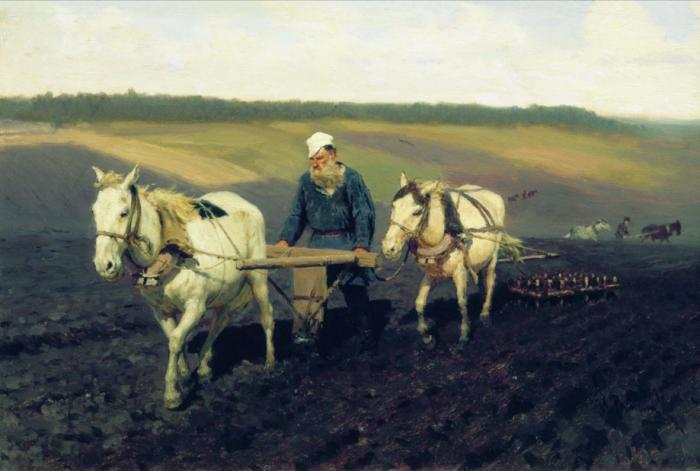 Илья Репин «Пахарь Л. Н. Толстой на пашне», 1887 год