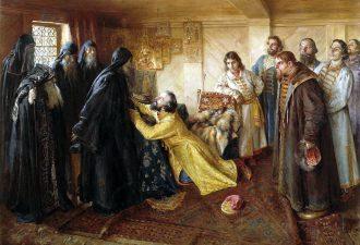 Клавдий Лебедев. «Царь Иван Грозный просит игумена Кирилла благословить его в монахи», 1898 год