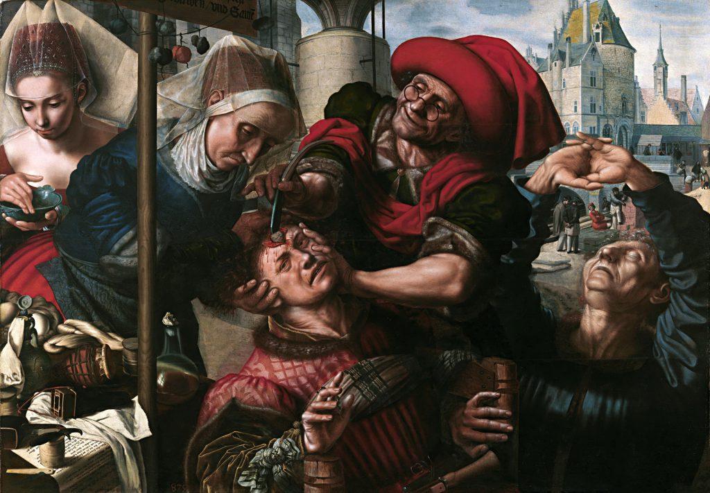 Ян ван Хемессен «Извлечение камней глупости», 1554-1560 гг.