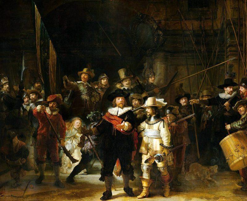 Рембрандт «Ночной дозор» или «Выступление стрелковой роты капитана Франса Баннинга Кока и лейтенанта Виллема ван Рёйтенбюрга», 1642 год