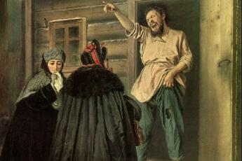 Василий Перов «Дворник, отдающий квартиру барыне», 1865 год