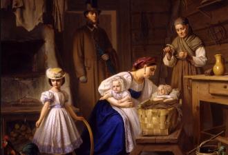 Карл Вениг «Кормилица пришла навестить своего больного ребенка», 1886 год