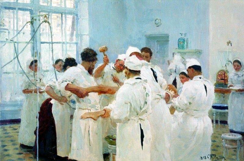 Илья Репин «Хирург Павлов в операционном зале», 1888 год
