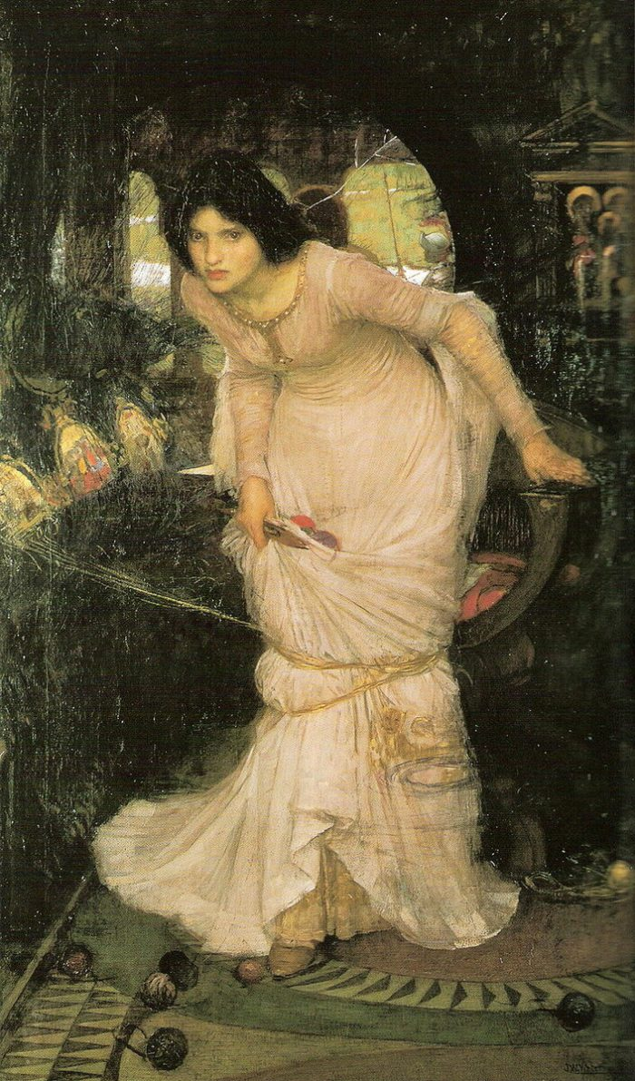 Джон Уильям Уотерхаус «Леди из Шалот смотрит на Ланселота», 1894 год