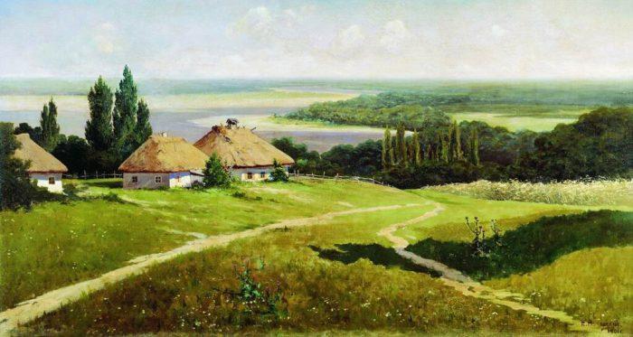 Владимир Маковский «Украинский пейзаж с хатами», 1901 год