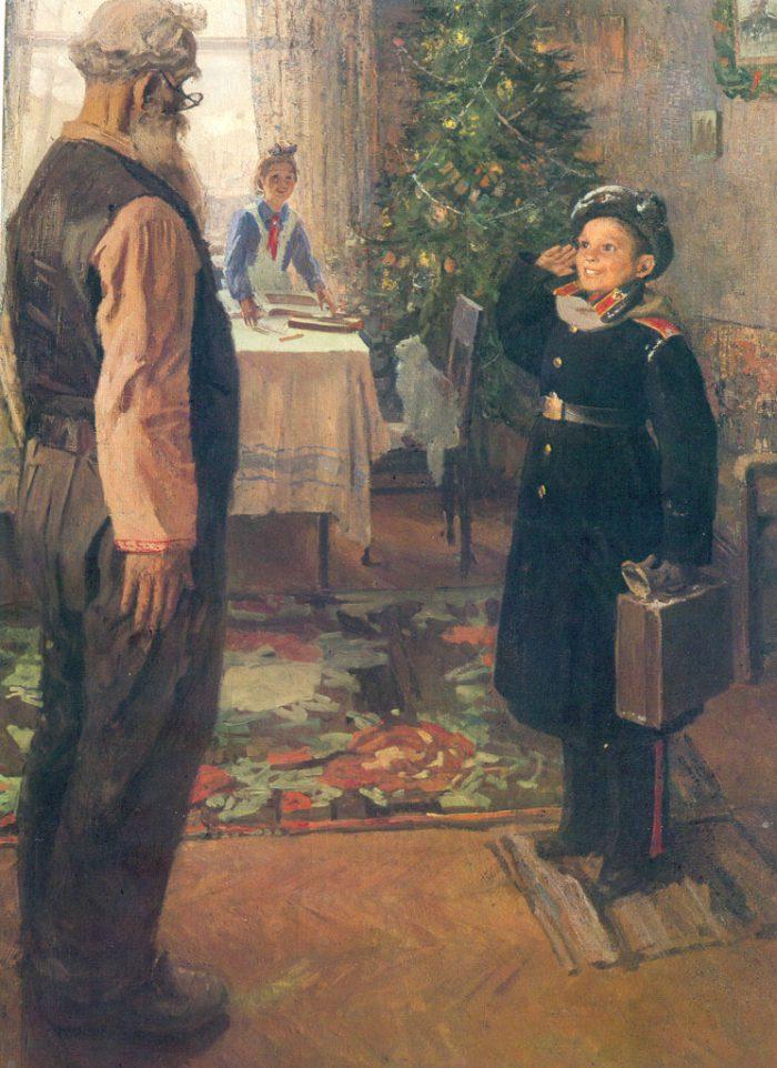Фёдор Павлович Решетников «Прибыл на каникулы», 1948 год