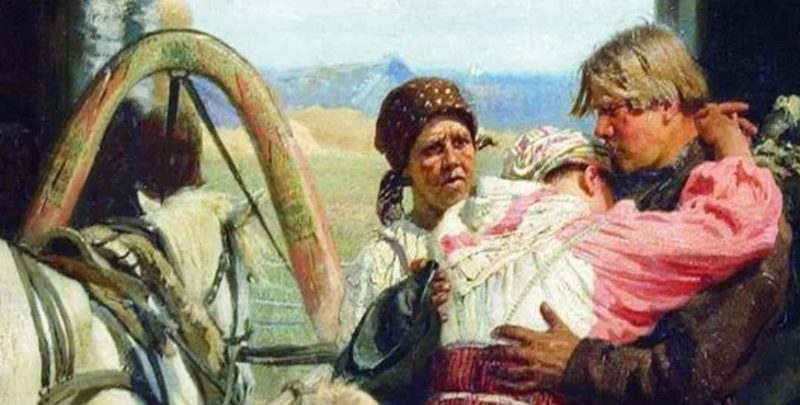 Илья Ефимович Репин «Проводы новобранца», фрагмент