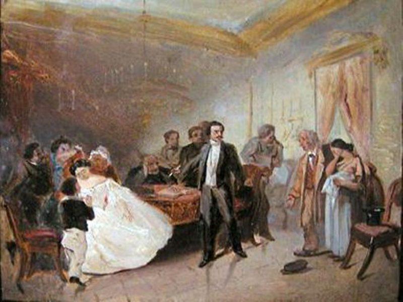 Адриан Маркович Волков «Прерванное венчание» , эскиз, 1860 год