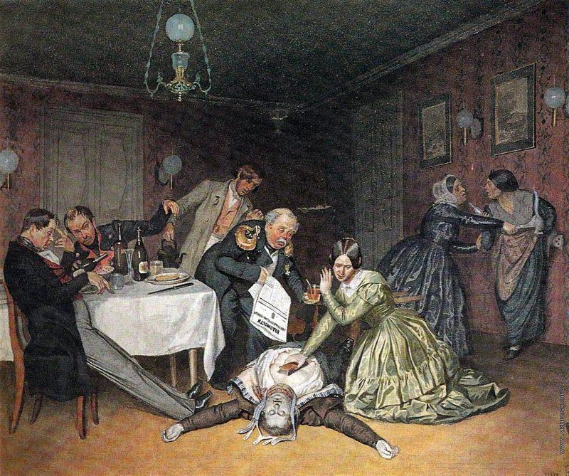 П. А. Федотов «Все холера виновата», 1848 год