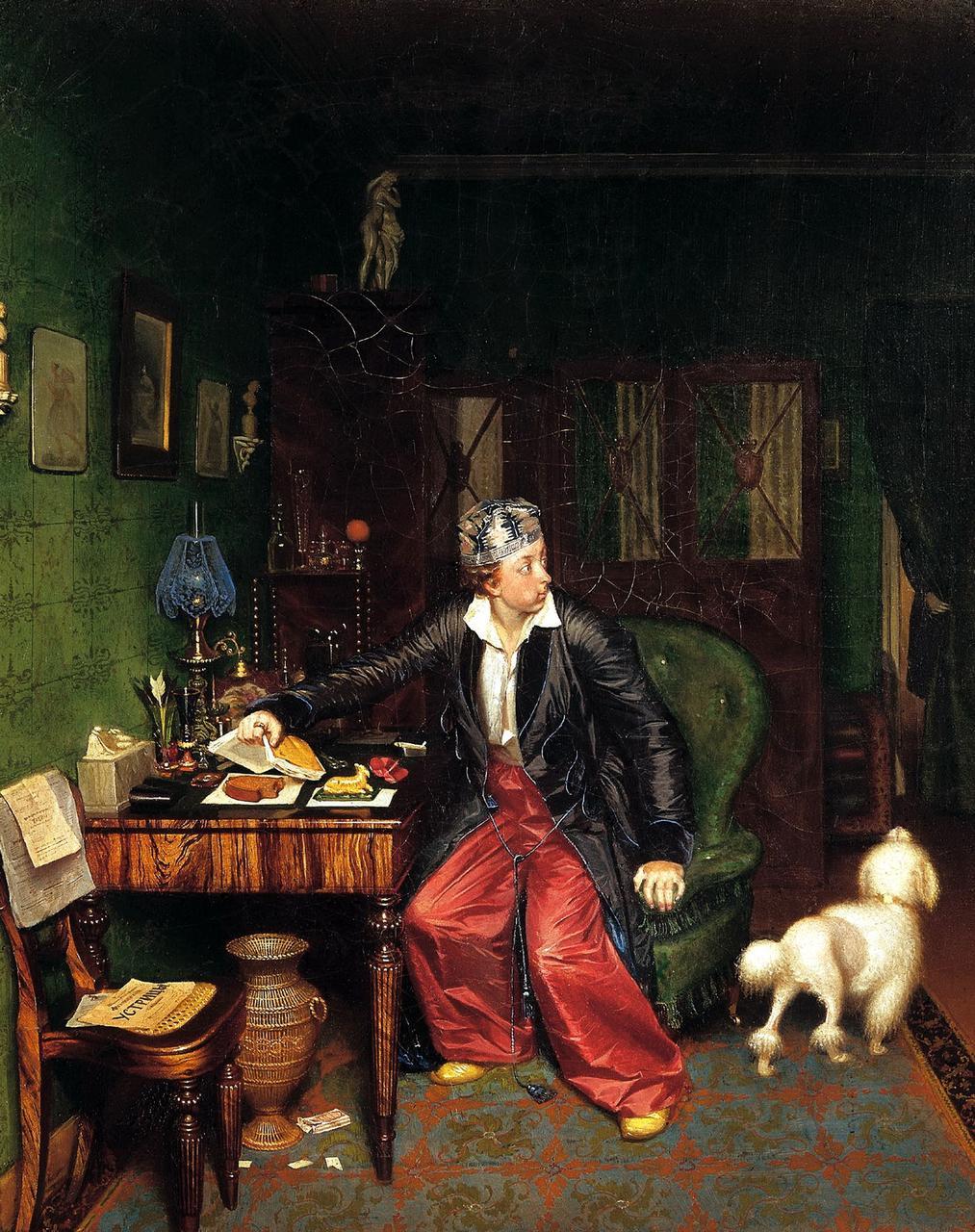 Павел Федотов «Завтрак аристократа» («Не в пору гость»), 1849-1850