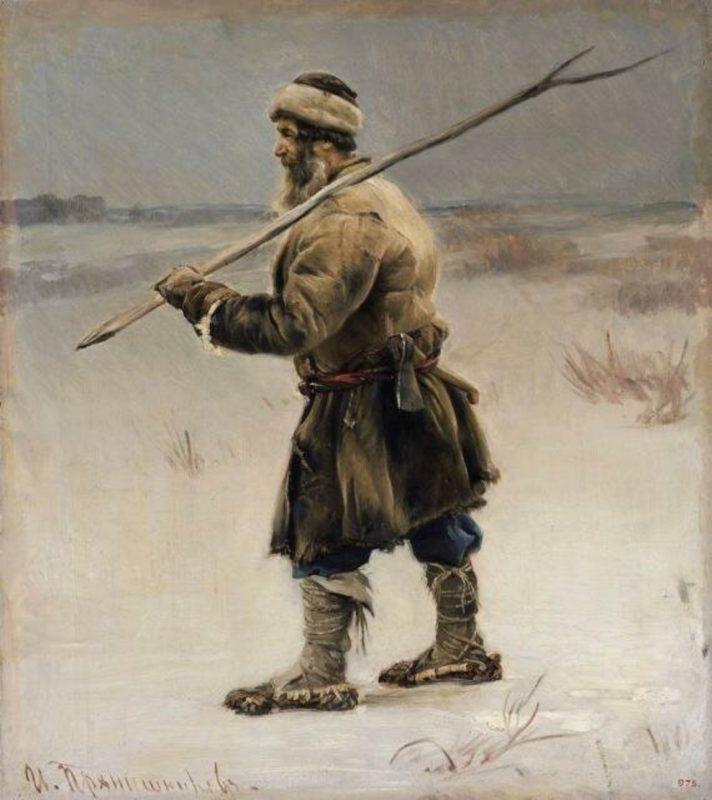 Прянишников И. М. «Крестьянин с рогатиною на плече». Этюд для картины «В 1812 году»