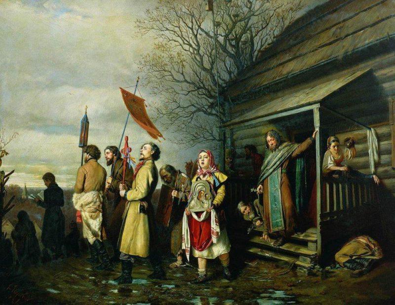 Василий Перов «Сельский крестный ход на Пасху», 1861 год
