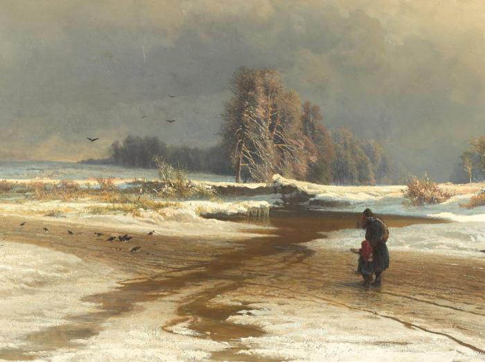 Фёдор Васильев «Оттепель», фрагмент