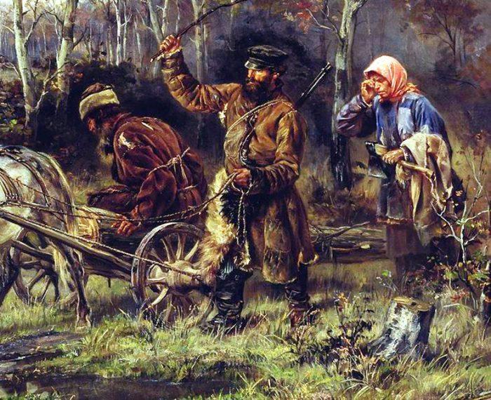Илларион Прянишников «Порубка», фрагмент
