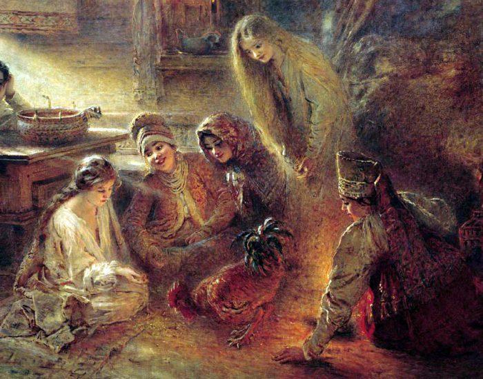 Константин Егорович Маковский «Святочные гадания», фрагмент