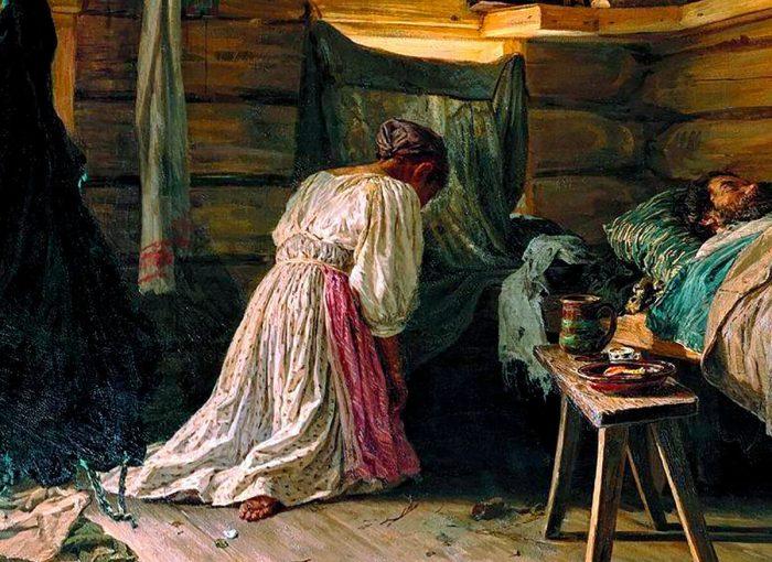 Василий Максимов «Больной муж», фрагмент