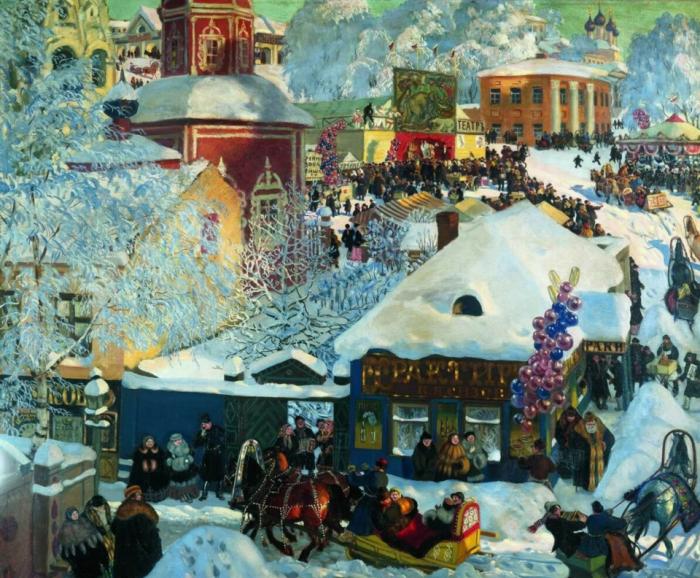 Борис Михайлович Кустодиев «Зима. Масленичное гулянье», 1920 год