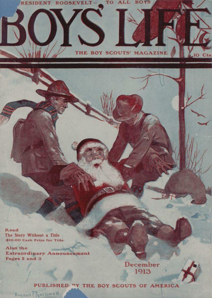 Норман Роквелл «Санта Клаус и скауты», 1913 год