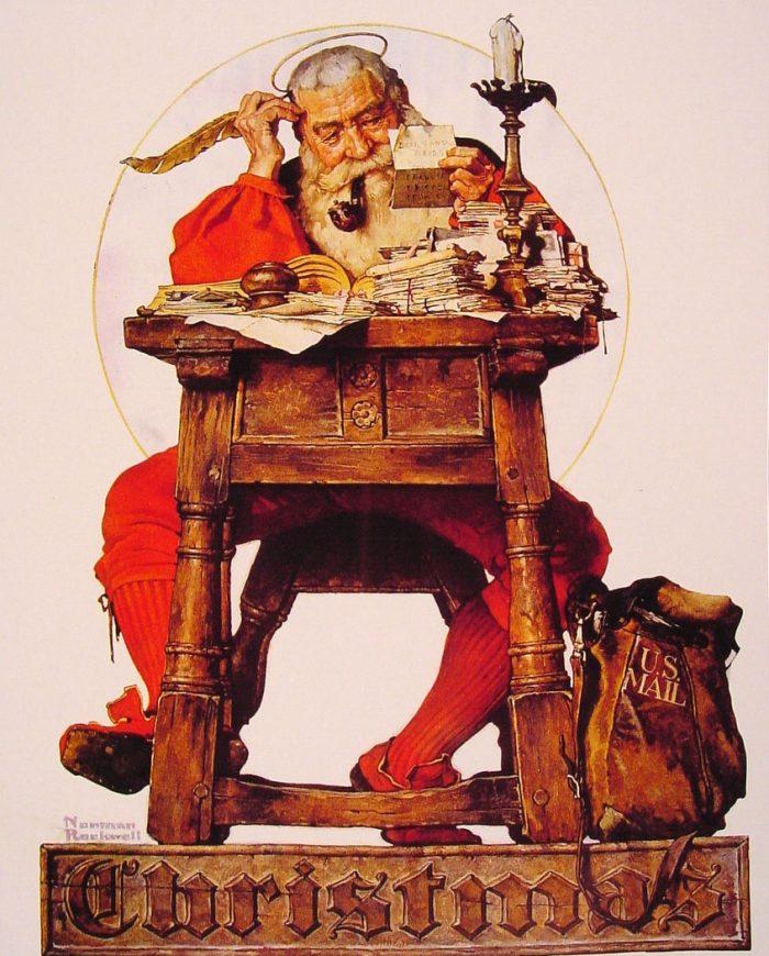 Норман Роквелл «Санта читает рождественскую почту», 1935 год