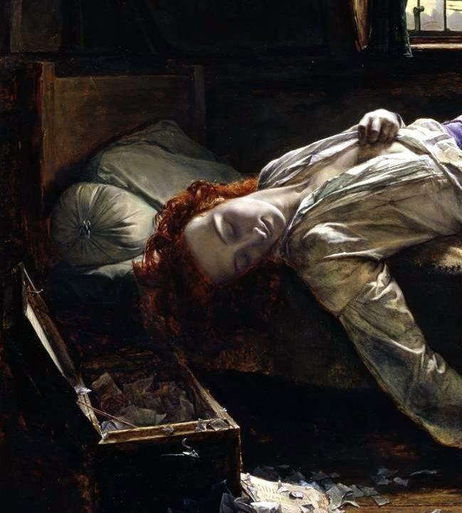 Генри Уоллис «Смерть Чаттертона», фрагмент