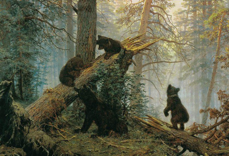 Иван Шишкин «Утро в сосновом лесу», фрагмент