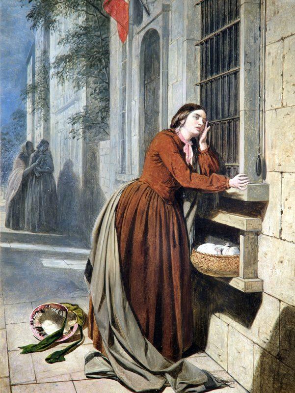 Генри Нельсон О'Нил «Мать, отдающая своего ребенка в Воспитательный дом в Париже», 1855 год