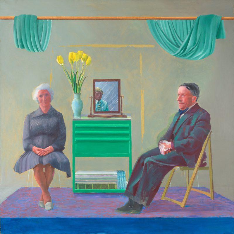 Дэвид Хокни «Я и мои родители» — первоначальный вариант картины, 1976 год
