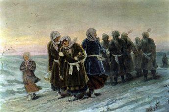 Василий Перов «Возвращение крестьян с похорон зимою», 1880 год