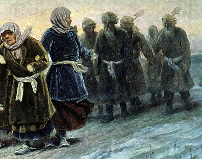 Василий Перов «Возвращение крестьян с похорон зимою», фрагмент