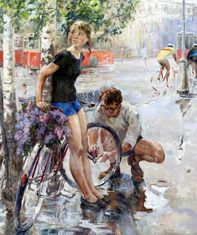 Виктор Цветков «Велосипедная прогулка», 1965 год