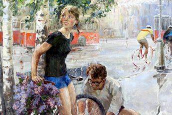 Виктор Цветков «Велосипедная прогулка», фрагмент