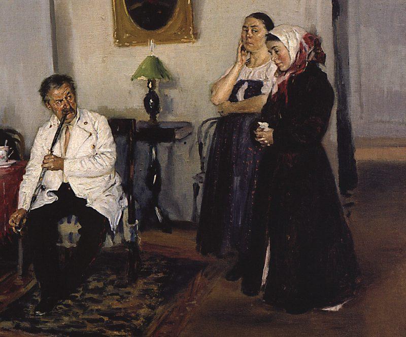 Владимир Маковский «Наём прислуги», фрагмент