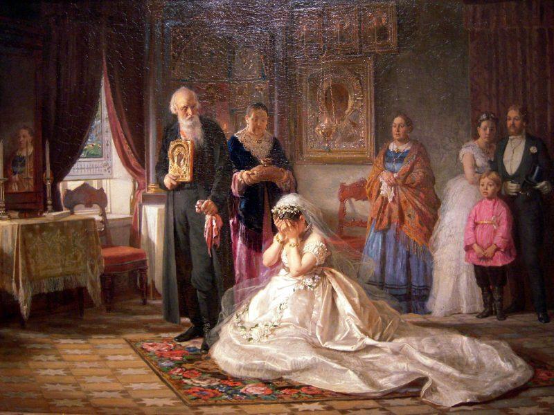 Фирс Журавлев «Перед венцом», 1874 год