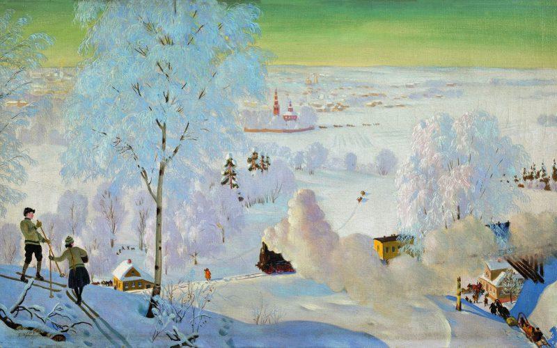 Борис Кустодиев «Лыжники», 1919 год