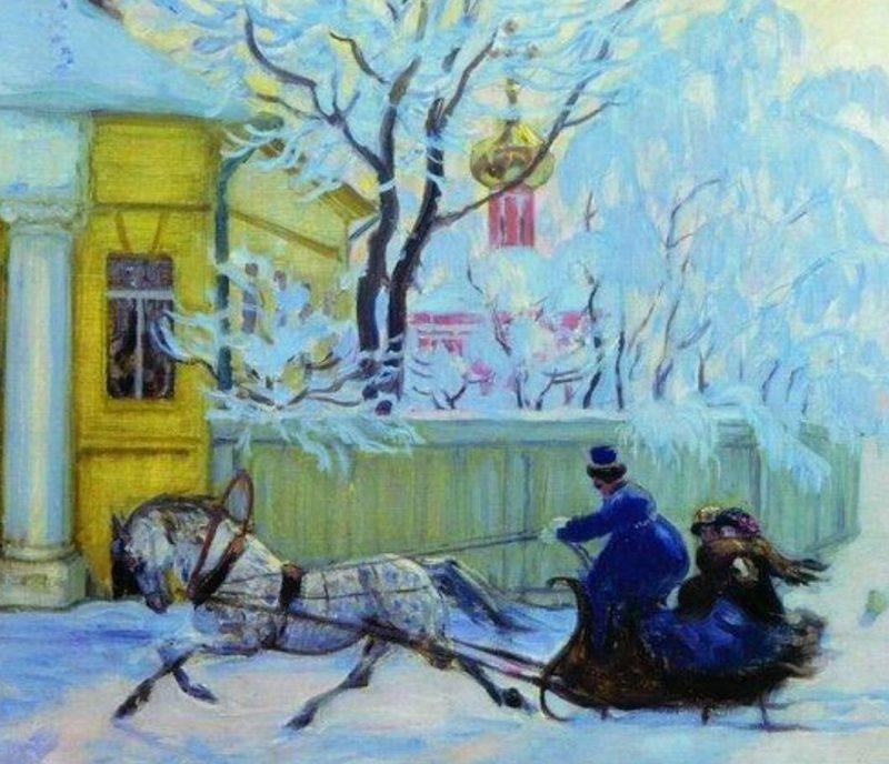 Борис Кустодиев «Морозный день», фрагмент