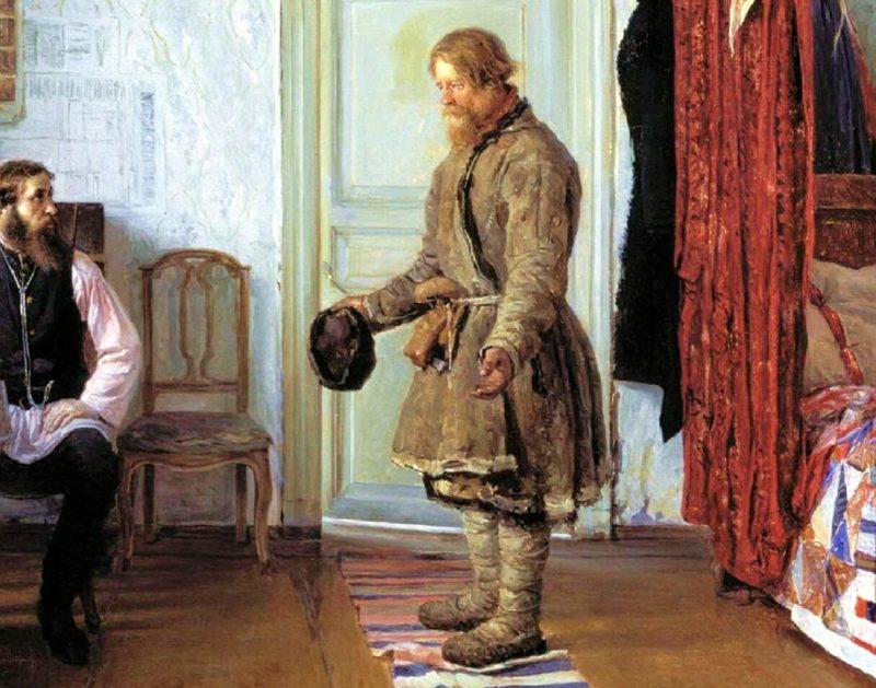 Иван Богданов «За расчетом», фрагмент