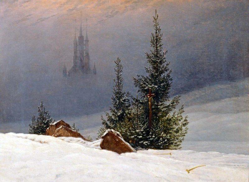 Каспар Давид Фридрих «Зимний пейзаж с церковью», 1811 год