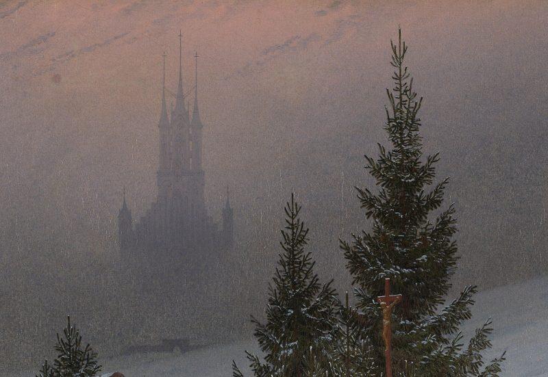Каспар Давид Фридрих «Зимний пейзаж с церковью», фрагмент