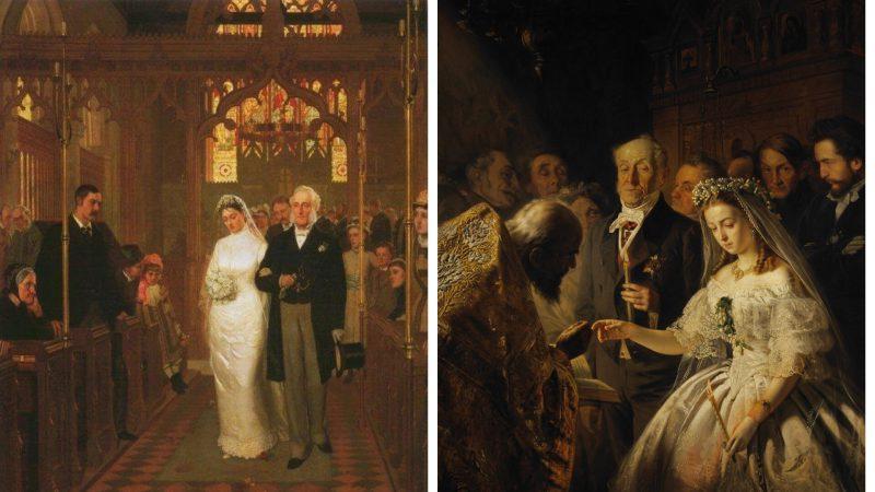 Слева картина Лейтона, справа — Пукирева